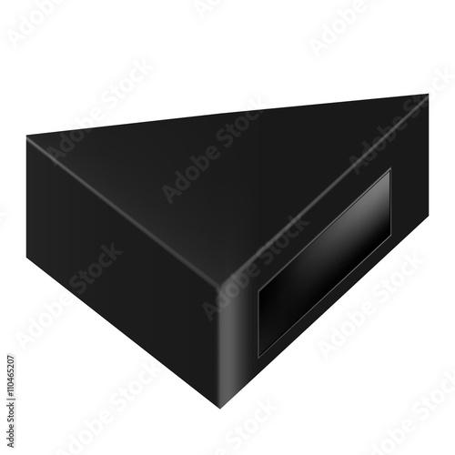 Vector packaging black triangle packaging box with window on vector packaging black triangle packaging box with window on isolated white background mock maxwellsz