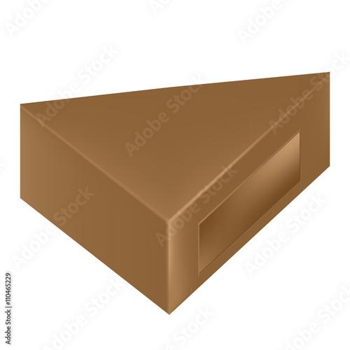 Vector packaging brown triangle packaging box with window on vector packaging brown triangle packaging box with window on isolated white background mock maxwellsz
