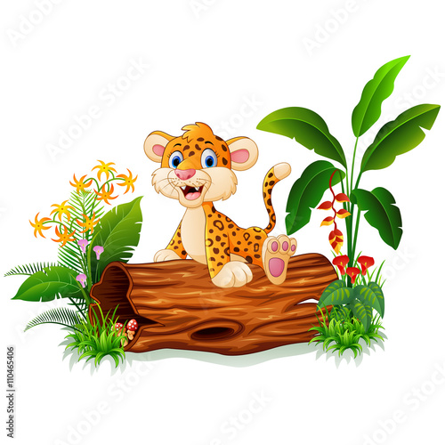 Cartoon baby cheetah on tree trunk