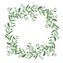 Watercolor Olive Wreath. Isola...