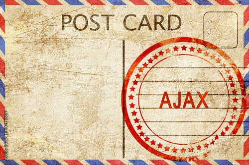 Ajax, vintage postcard with a rough rubber stamp Canvas Print