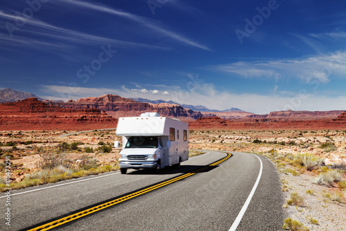 Photo Stands United States RV Camper on highway