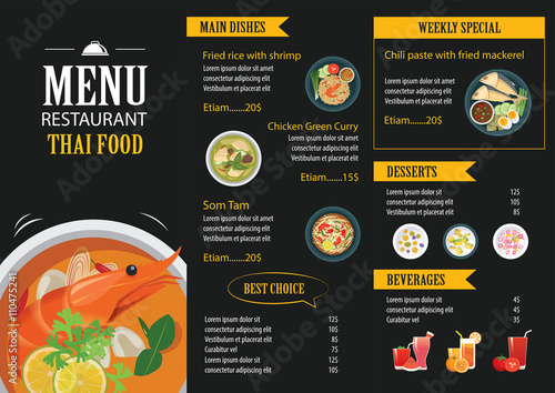 Foto  vector thai food restaurant menu template flat design
