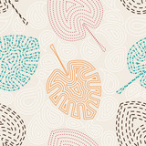 Seamless pattern with leaf palm . Texture in Memphis retro style - 110483418