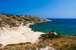 Kolymbia beach with the rocky coast in Greece.