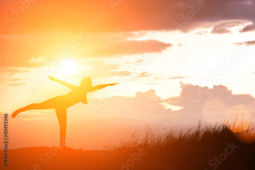 Silhouette of Outdoor Yoga on nature Canvas Print