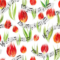 FototapetaBright seamless pattern with oil painted red tulip flowers end notes, design elements.