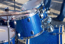 Set Of Blue Drums Isolated With Clipping Path