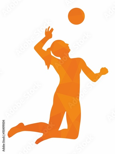 Silhouette of woman playing volleyball - 110499004