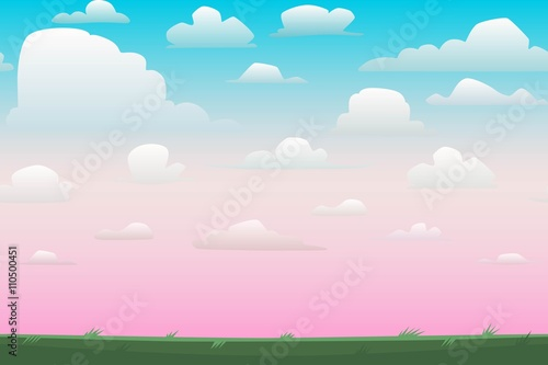 Poster Lime groen Cartoon nature seamless horizontal landscape with a beautiful evening or morning sunset sky and clouds. Vector illustration.