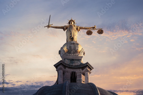 Justice On The Old Bailey, London with a sunset background Wallpaper Mural