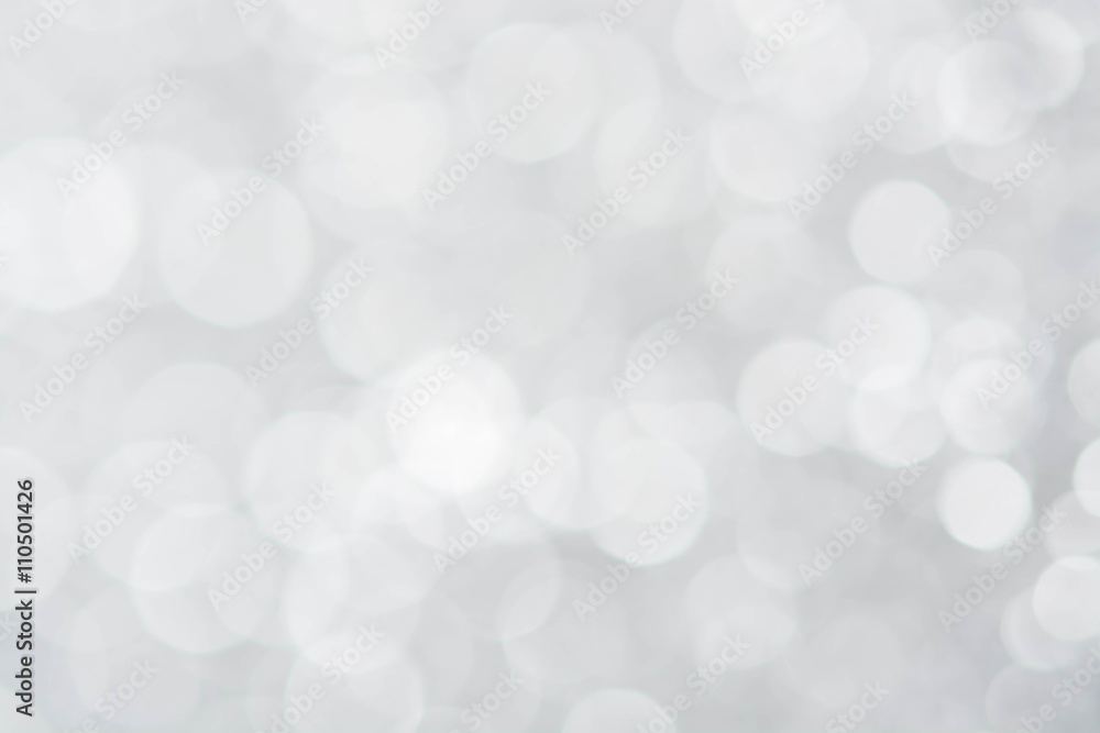 Fototapeta abstract silver white bokeh lights background
