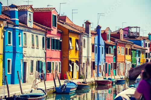 Láminas Isla Burano cerca de Venecia, Italia
