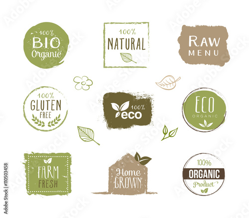 Fotografiet  Eco Labels - Stickers, Healthy Lifestyle