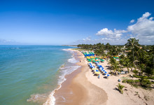 Aerial View Of Itacimirim Beach, Bahia, Brazil