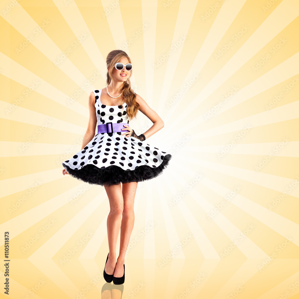 Photographie Dotted Dress Creative Photo Of A Vogue Pin Up Girl