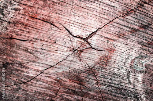 Fototapeta Wooden background. Cracks on the stump. Stump in the section. Red texture obraz na płótnie