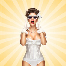 Shouting Loudly / Sexy Pinup Bride In A Vintage Wedding Corset Showing V Sign On Colorful Abstract Cartoon Style Background.