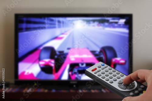 Tv remote control in a car race