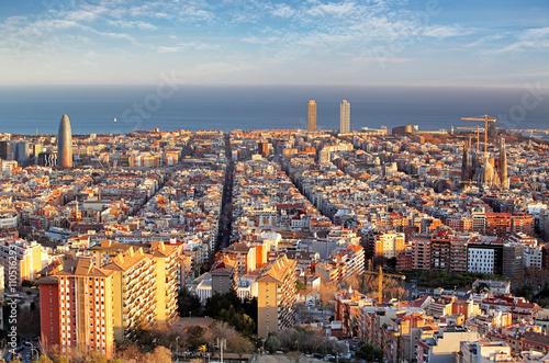 Panoramic view of Barcelonain  summer day in Spain Wallpaper Mural