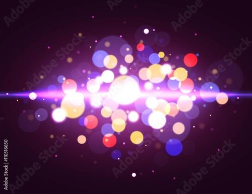 Fotografie, Obraz  Magic bokeh background with light effect. Vector illustration.