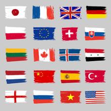 Set Of Flags - Grunge