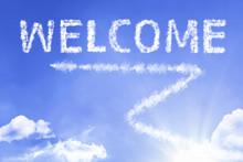 Welcome Cloud Word With A Blue Sky