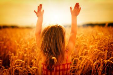 Girl on a wheat