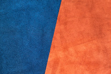 Close Up Suede Navy Blue And Orange Leather Divide At Half Ratio