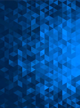 Blue Abstract Geometric Triangle Vertical Background - Vector Illustration   Abstract Polygon Vector Pattern - Portrait Orientation