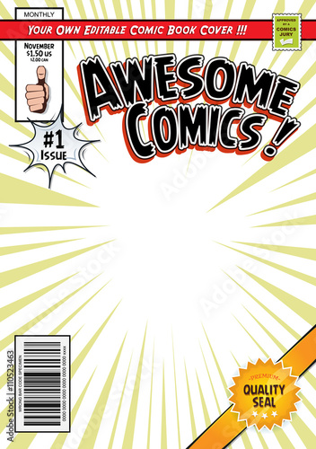 Comic book cover template buy this stock vector and for Comic book page template psd
