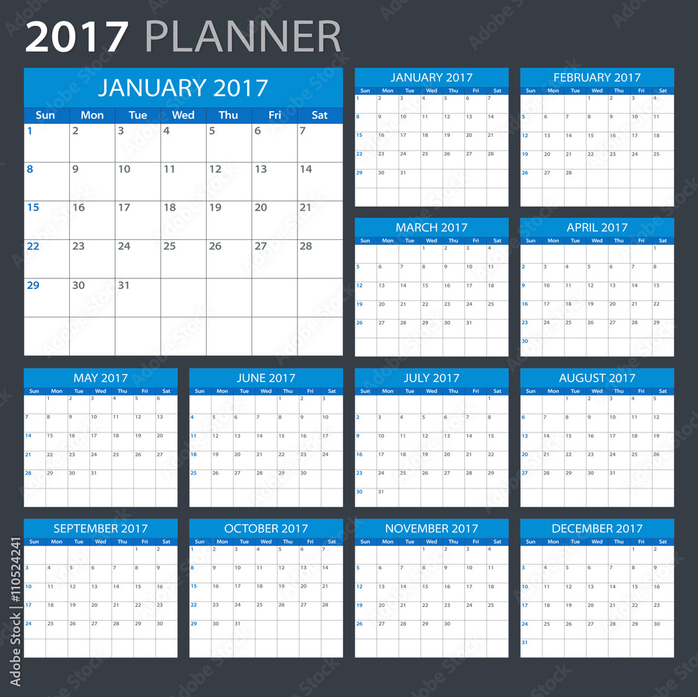 2017 planner illustration vector template of 2017 calendar planner