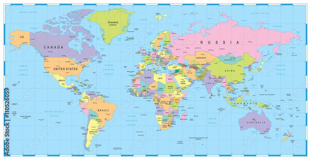 Fotografie Obraz Barevny World Map Hranice Zeme A Mesta