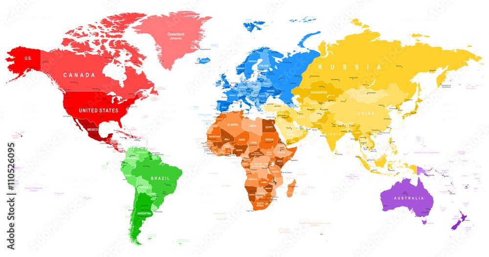 Foto auf AluDibond Colored World Map - borders, countries ...