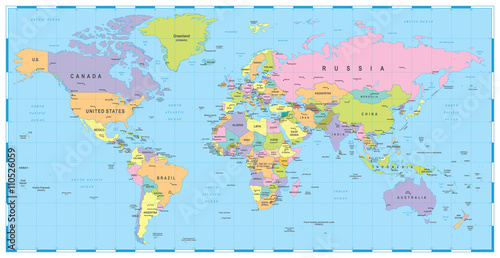 Fotografija  Colored World Map - borders, countries and cities - illustration