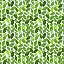 Green Leaves Pattern. Eco. Seamless Decorative Template Texture With Green And Beige Leaves. Seamless Stylized Leaf Pattern. Vector Illustration