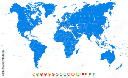 Blue World Map and navigation icons - illustration Highly ...