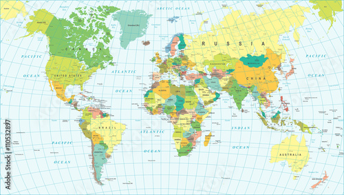 Fotomural Colored World Map - borders, countries and cities - illustration