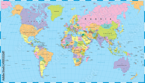 Spoed Foto op Canvas Bestsellers Colored World Map - borders, countries and cities - illustrationHighly detailed colored vector illustration of world map.