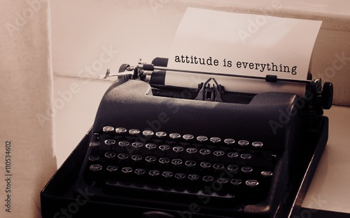 Composite image of attitude is everything message on a white bac Tablou Canvas