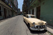 Old american car parked in Old Havana street