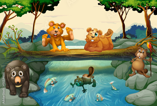 In de dag Kinderkamer Bears and other animals in the forest