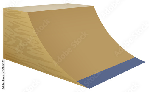 Tableau sur Toile Wooden street ramp on white background