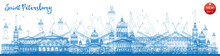 Outline Saint Petersburg Skyline With Blue Landmarks.