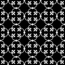 Forged Seamless Pattern Of White Fleur-de-lis On A Black Background. Openwork Metal Fence Design. Modern Style For Wallpaper, Wrapping, Fabric, Background, Apparel, Other Print Production. Vector