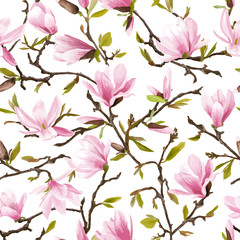 Panel Szklany Egzotyczne Seamless Floral Pattern. Magnolia Flowers and Leaves Background.
