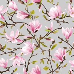 Fototapeta Kwiaty Seamless Floral Pattern. Magnolia Flowers and Leaves Background.