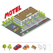Isometric Building. Motel With Parking. Isometric Motel. Vector