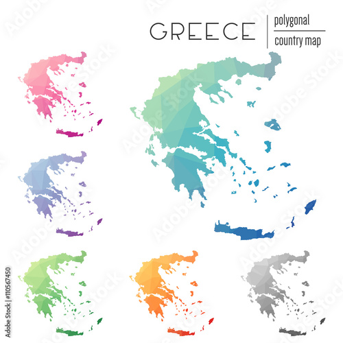 Country Of Greece Map.Set Of Vector Polygonal Greece Maps Bright Gradient Map Of Country