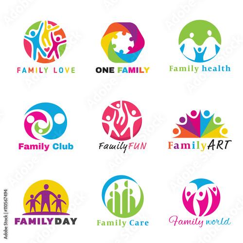 Fotografía  Family logo circle art vector set design